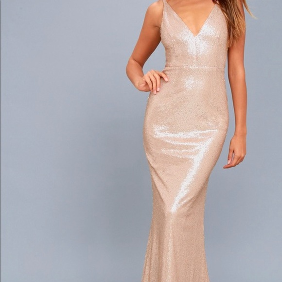 820fe8e050 Lulu's Dresses & Skirts - Lulu's Here To Wow Rose Gold Sequin Maxi Dress